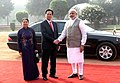 Narendra Modi welcoming the Prime Minister of Socialist Republic of Vietnam, Mr. Nguyen Tan Dung and Madame Tran Thanh Kiem, at the Ceremonial Reception, at Rashtrapati Bhavan, in New Delhi on October 28, 2014 (1).jpg