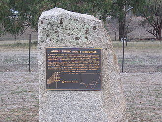 Telecommunications in Australia - A memorial at Narrandera, New South Wales to the 'J' trunk route linking the Australian cities and towns on the east coast