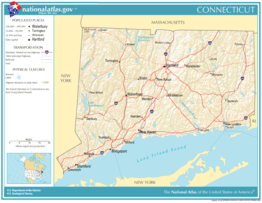 Kaart van State of Connecticut