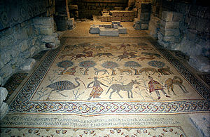 Early Byzantine mosaics in the Middle East - Mosaic floor from the church on Mount Nebo (baptistery, 530)