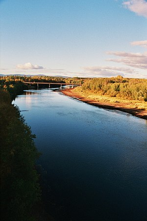 Nechako River - The Nechako River and Highway 16 bridge, near Fort Fraser