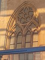 Neo-Gothic church window, Matthias Church reflection, 2016 Budapest.jpg