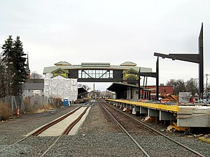Wallingford station (Connecticut) - New station under construction in December 2016