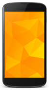 Black Nexus 4 with yellow background and Android app drawer