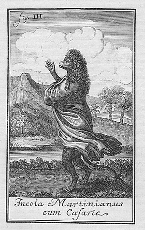 "Niels Klim's Underground Travels - ""Citizen of Martinia with a wig"" Illustration from the 1741 first edition."
