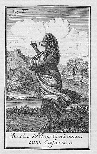 """Niels Klim's Underground Travels - """"Citizen of Martinia with a wig"""" Illustration from the 1741 first edition."""