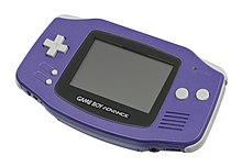 An indigo-colored Game Boy Advance (GBA), the handheld device Sonic Advance was developed for.