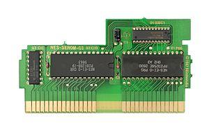 Memory management controller - A Tetris cartridge showing an MMC1B1 chip.