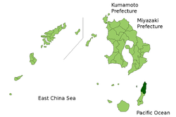 Location of Nishinoomote in Kagoshima (Kumage)