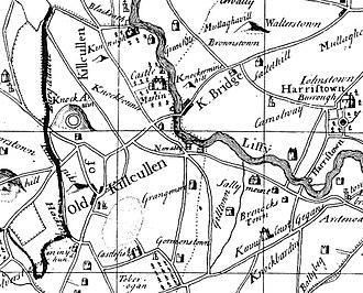 Old Kilcullen - Location of Old Kilcullen and Kilcullen (Bridge), from 1752 map.