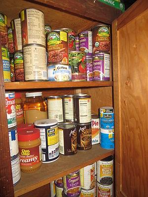 Earthquake preparedness - Non-perishable food in cabinet