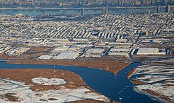 Eastward from Hackensack River in the Meadowlands to Hudson River