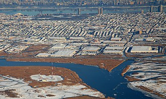 North Bergen, New Jersey - Eastward from Hackensack River in the Meadowlands to Hudson River