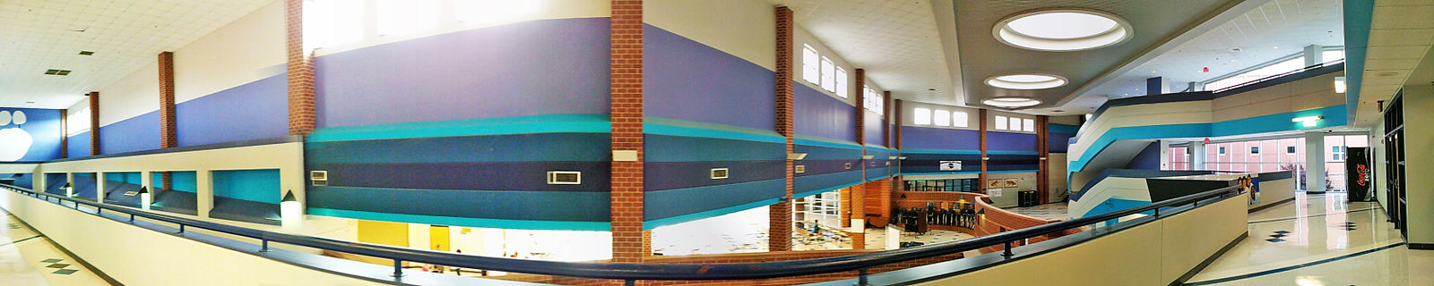 Panorama Of The Interior Skywalk At Northwestern High School Taken From Second Floor
