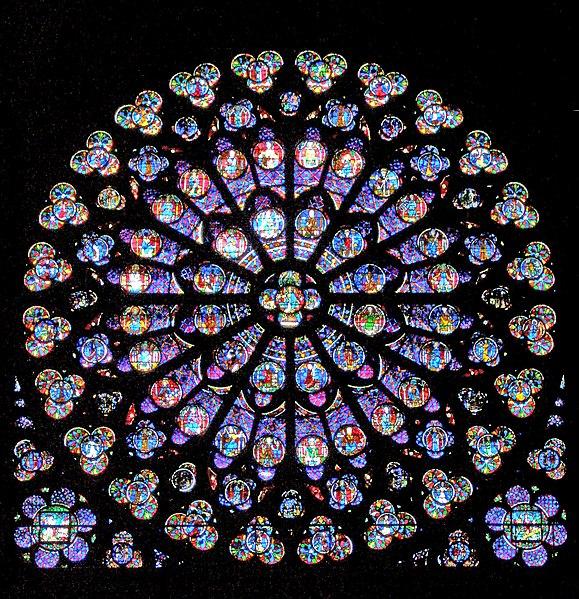 Vitrail et autres vitraux. 579px-Notre-Dame-de-Paris_-_rosace_sud