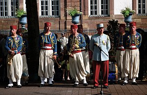 Tirailleur - Soldiers of the 1st Tirailleur regiment of Épinal displaying late 19th- to early 20th-century uniforms for Bastille Day festivities.