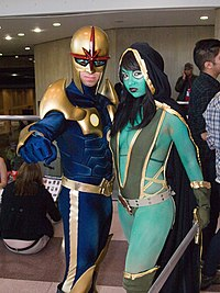 Cosplays de Nova et Gamoraau New York Comic Con 2011.