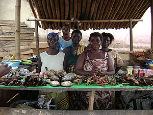 Women on a fishmarket in Nyakrom in Agona Dist...