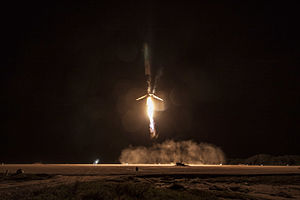 Cape Canaveral Air Force Station Launch Complex 13 - Falcon 9 Flight 20 first stage touching down on Landing Zone 1