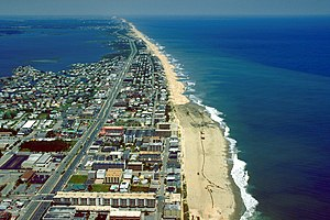 Fenwick Island (Delaware–Maryland) - Aerial view of Fenwick Island. Ocean City, Maryland is at the bottom of the photograph, Fenwick Island, Delaware is in the middle, and Fenwick Island State Park can be seen toward the top.