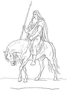La chevauchée d'Hermoor dans CHEVAL 220px-Odin_holding_Gungnir_atop_Sleipnir_by_Fr%C3%B8lich