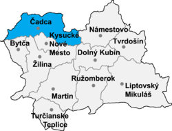 Localisation du district de Čadca dans la région de Žilina (carte interactive)