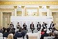 Olaf Scholz, Kristalina Georgieva, Christine Lagarde, Ron Johnson, Wang Huiyao, Mohamed A. El-Erian und Børge Brende MSC 2019.jpg