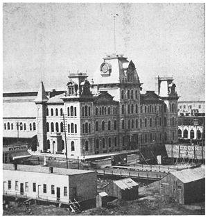 LaSalle Street Station - The station as rebuilt circa 1871 and demolished circa 1903