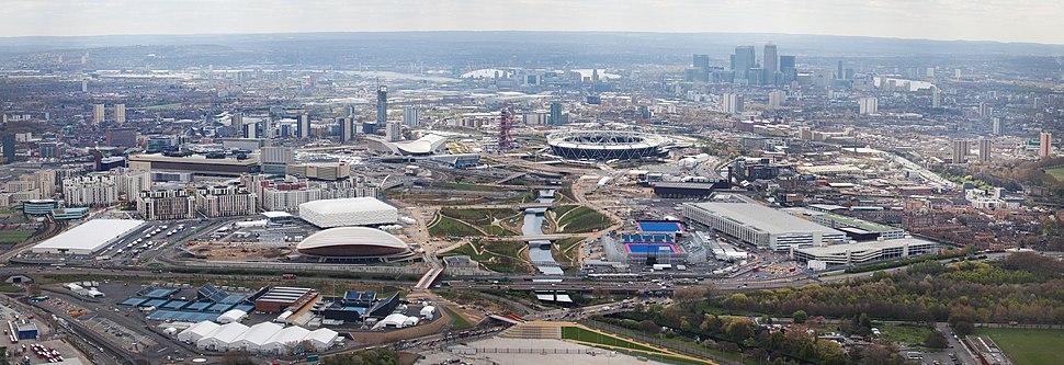 Vista aérea do Parque Olímpico en abril de 2012