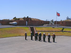 Fort Glanville Conservation Park - Manning Parade, terreplein, gun emplacements and the rear of the rampart