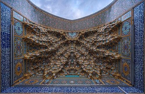 One of the iwan ceilings of Fatima Masumeh Shrine in atabki sahn, Qom, Iran.jpg