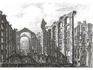 Ópera do Tejo - Ruins of the Ópera do Tejo depicted in 1757