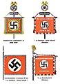 "Organisationsbuc00nati 0 orig 0639 ORGANISATIONSBUCH DER NSDAP 1943 Tafel 45 Schutzstaffel SS Standarte Leibstandarte ""Adolf Hitler"" ""Julius Schreck"" Sturmbannfahne Reiterstandarte Public domain Cropped contrast.jpg"