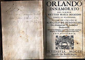 Orlando Innamorato - 1655 edition by Giovanni Battista Brigna, Venice