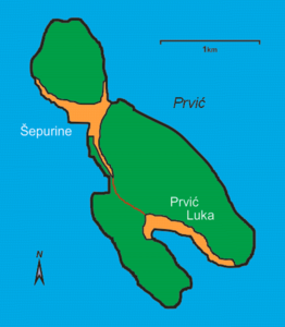 Map of the island of Prvić