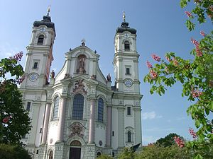 Ottobeuren Abbey - The façade of the basilica, designed by Johann Michael Fischer, has been hailed as a pinnacle of Bavarian Baroque architecture