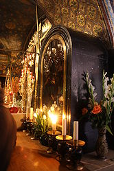 Our Lady of Sorrows statue case in Golgotha, Holy Sepulchre.jpg