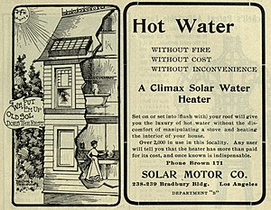 Solar water heating - An advertisement for a Solar Water Heater dating to 1902