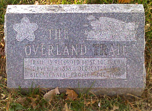 Overland, Missouri - Marker commemorating the beginning of the Overland Trail