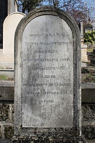 Joseph Lakanal - Grave of Lakanal, in Père Lachaise Cemetery, Paris.