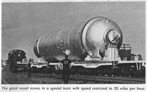 Steam generator (nuclear power) - This Babcock & Wilcox nuclear steam generator moved in a special train (restricted to 20 mph) via the Penn Central Railroad and Southern Railway from Barberton, Ohio to a Duke Energy site in Oconee, S.C.  This generator weights 1,140,000 lbs and is a record shipment for the Railroad at that time (1970).