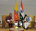 PM Modi bilateral engagement with Bhutanese official during Gujarat summit – Jan 10, 2015.jpg