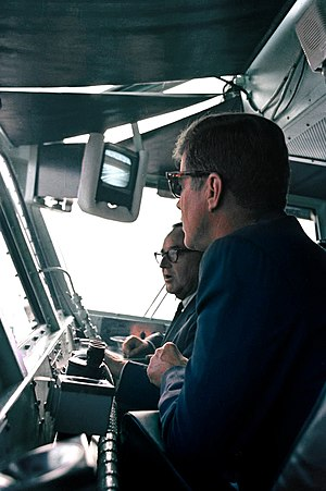 USS Kitty Hawk (CV-63) - President Kennedy and Governor Brown of California review a fleet demonstration aboard Kitty Hawk on 6 June 1963