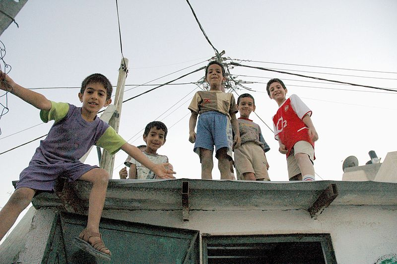 File:Palestinian children on rooftop.jpg