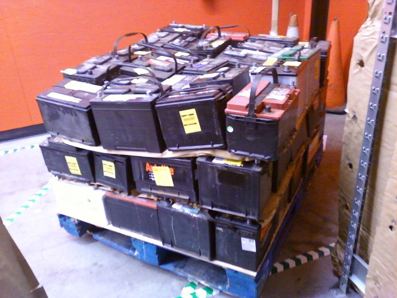 File Pallet Of Scrap Lead Acid Automotive Batteries Right