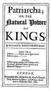 <i>Patriarcha</i> 1680 book by Robert Filmer