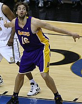 Pau Gasol boxing-out for a rebound.