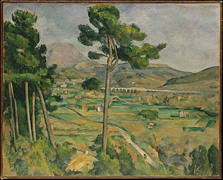 <i>Mont Sainte-Victoire and the Viaduct of the Arc River Valley</i> painting by Paul Cézanne