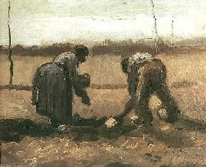 Lost works by Vincent van Gogh - Planting Potatoes, April 1885, Nuenen.