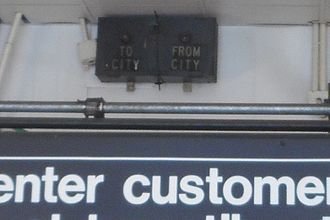 "Pelham Parkway (IRT Dyre Avenue Line) - Old ""To City""/""From City"" train indicators from the New York, Westchester and Boston Railway"